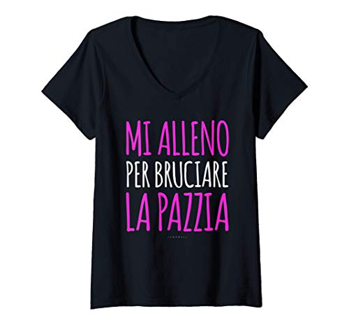 Donna Magliette Divertenti Palestra Fitness Pazzia Frasi Ironiche Maglietta con Collo a V