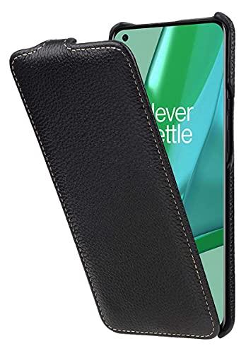 StilGut UltraSlim kompatibel mit OnePlus 9 Pro Hülle aus Leder - OnePlus 9 Pro 5G Flip Hülle, Klapphülle, Handyhülle, Lederhülle - Schwarz
