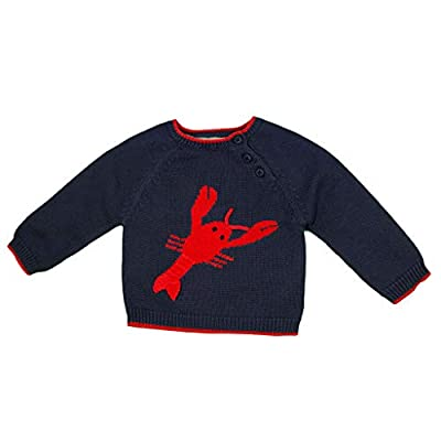 Zubels Baby Hand-Knit Cotton Lobster Sweater, All-Natural Fibers, 6 Months, Navy