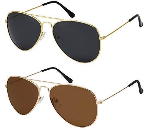 La Optica B.L.M. Herren Sonnenbrillen Damen UV400 Pilotenbrille Fliegerbrille 70er Jahre - Doppelpack Set Gold Farben (Gläser: 1 x Grau, 1 x Braun)