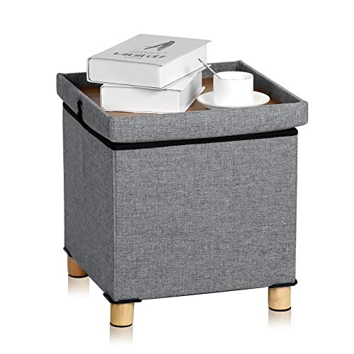 UHSTORAGE Ottoman Cube Storage with Coffee Tray,Side End Tables Extra Seating and Foot Rest,Step Stools Nightstand for Bedroom/Living Room (14.96x14.96x15.1inch,Wood&Grey)