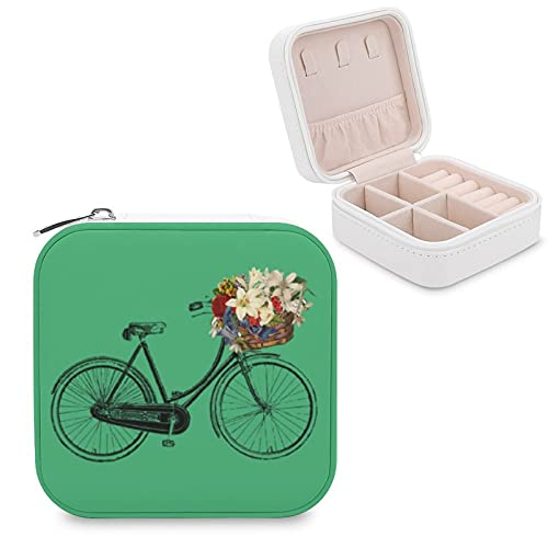 Caja de joyería para mujeres y niñas, color verde esmeralda para bicicleta, pequeño viaje, piel sintética, caja de almacenamiento, organizador para collares, pendientes, anillos, pulseras