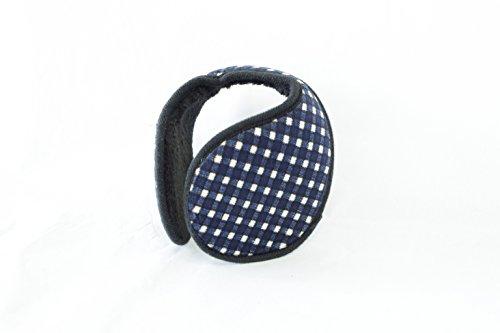 TPOS イヤーマフ 耳あて 耳カバー シンプル コンパクトなイヤウォーマー チェック柄 6色 (紺×白)
