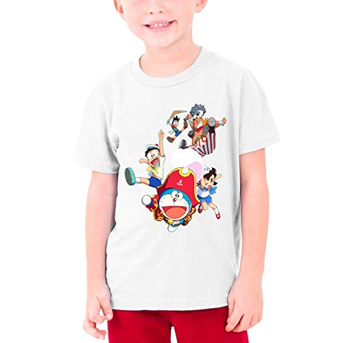 Runxin Design Doraemon Captain and Sailor's Adventure Funny Tshirts Short Sleeve for Youngster White XL