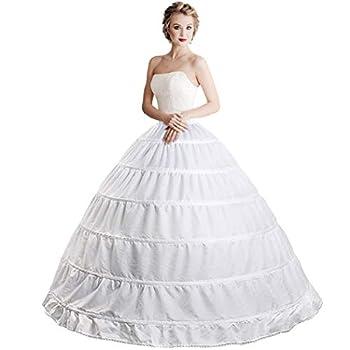 6 Hoop Crinoline Underskirt Petticoat Full A-line Floor Length Bridal Dress Ball Gown Slip for Women White