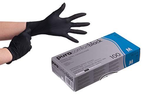 Pura Comfort Black Nitrilhandschuhe 100 Stück Box (M, Schwarz) Einmalhandschuhe, Einweghandschuhe, Nitrilhandschuhe Schwarz