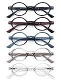 HEEYYOK 5 Pacco Occhiali da Lettura,Leggero Moda,Cerniere a Molla di Qualita,Occhiali da Vista per Uomo Donna,Mescola Colore