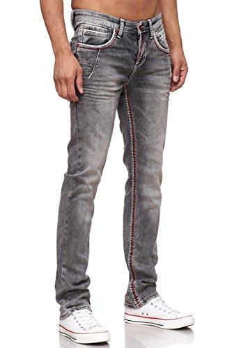 Rusty Neal 8323-45 Herren Jeans Hose Dunkel Schwarz Kontrast Naht Weiß Used Look Verwaschen, Weite/Länge:34/34