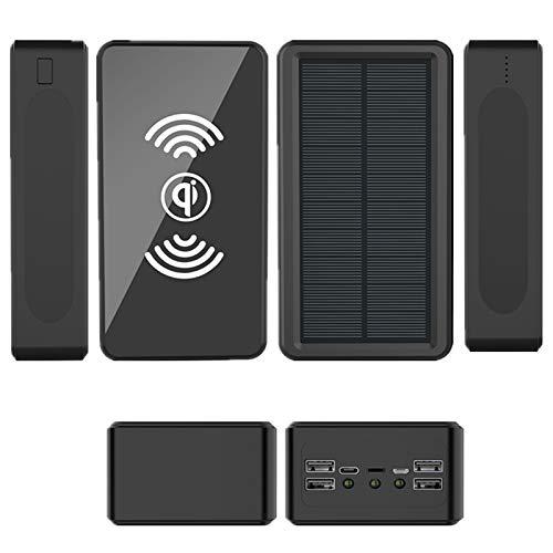 Qi Wireless Cargador Portátil Power Bank 100000Mah Batería Externa Alta Capacidad Paquetes 4 Puertos USB Y Linterna LED Compatible para Teléfono Móvil, Tableta, Al Aire Libre, Camping