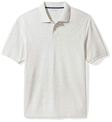 Amazon Essentials Cotton Pique Polo Shirt, Gris (Light Grey Heather), Medium