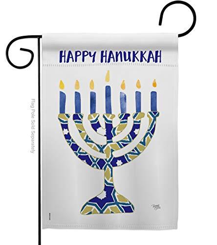 Breeze Decor Hanukkah Menorah Garden Flag Winter Candle Bonsai Jewish Chanukah David House Decoration Banner Small Yard Gift Double-Sided, 13'x 18.5', Thick Fabric