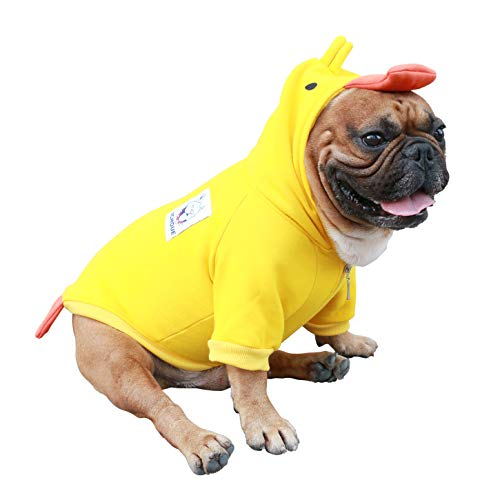 iChoue Duck Dog Halloween Costumes Small Medium Clothes Boy Girl Shirt Sweater Cute Funny for French Bulldog Cold Weather Winter Coats Hoodies Frenchie English Pug Pitbull Corgi Puppy - L Plus