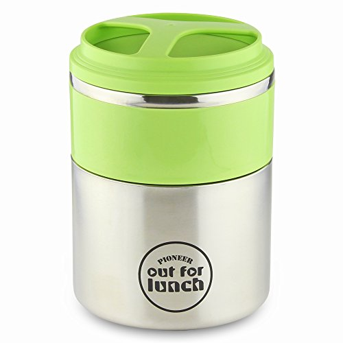 Pioneer Thermo-Speisebehälter 1,5 L Edelstahl Doppelwandig 2-in-1 mit Extra Breiten Öffnung, Isolier Lunch-Box für Suppe/Essen 4 Stunden Heiß 8 Stunden Kühl Auslaufsicher BPA-Frei – Grün