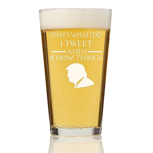 Custom President Trump Game of Thrones Pint Bier GiftI Tweet Drink en ik weet dingen Gegraveerd Bierglas Gepersonaliseerde Papa Bierglas