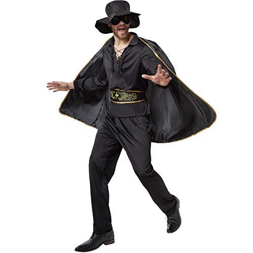 dressforfun 900531- Disfraz de Hombre Zorro, Traje de El Zorro Negro (XXL | No. 302664)
