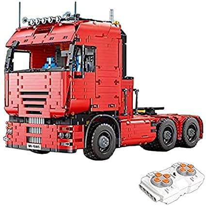 Juego de remolque tecnológico para camión, Mold King 19005T Cargador bajo con motores, 3368 bloques de construcción de sujeción compatible con Lego Technic Truck (Mould King 19005) (Mould King 19005t)