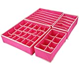 Gohytal Cassetti Organizer per Biancheria Intima, Set di 4 Divisori Cassetti Pieghevole Organizzatore Scatola Cassetti Organizzatori per biancheria intima, reggiseni, calze, cravatte (Rosa rossa)