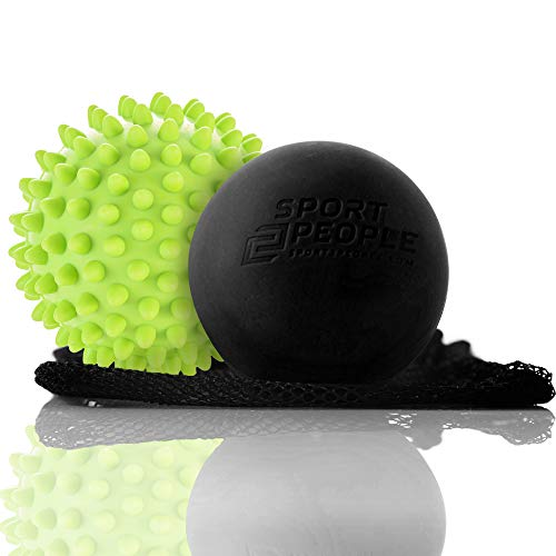 Sport2People 2 pack Massage Ball Set - Lacrosse and Spiky Balls for your complete recovery and relaxation - Made from Natural Rubber - Soft and comfortable touch