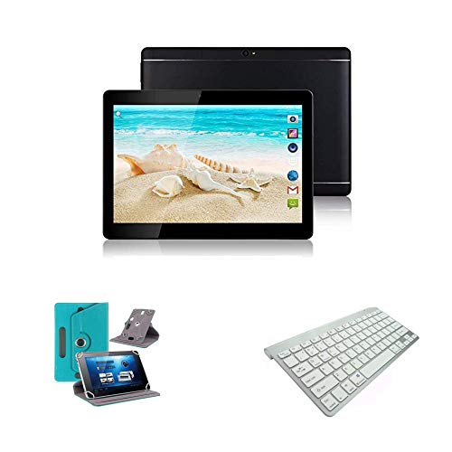 10.1' inch Android 8.0 Tablet with Leather Case and Bluetooth Keyboard (Pale Blue)