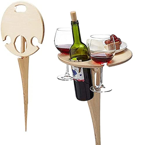 Outdoor Wine Table with Bottle Holder Folding Table Beach Table Mini Folding Table Picnic Table for Wine Lovers Outdoors, Garden, Travel, Sand and Grass
