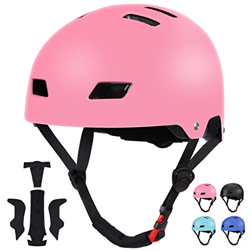 SKATERHELM FÜR INLINER Kinder Skateboard-Helm, Scooter-Helm Gr. 54-58, Skater Helm, Fahrradhelm - Verstellbarer BMX-Helm, mit Drehrad-Anpassung Rosa