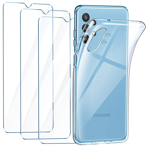 Leathlux Funda Samsung Galaxy A32 4G, 3 Pack Protector de Pantalla Samsung Galaxy A32 4G, Transparente TPU Silicona Funda con Cristal Vidrio Templado y Carcasa Samsung Galaxy A32 4G