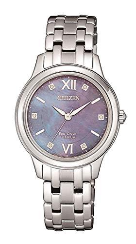 CITIZEN Damen Analog Eco-Drive Uhr Super Titanium Silber Perlmuttzifferblatt Mother of Pearl EM0720-85N