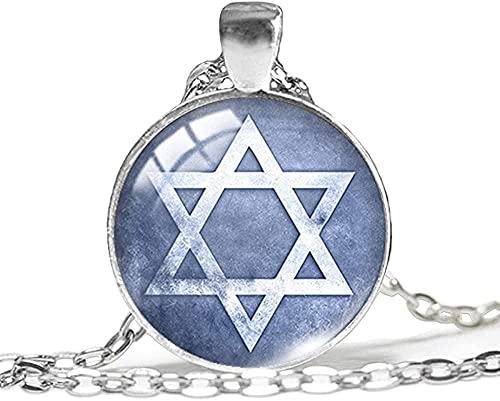 LLJHXZC Collar Nueva Estrella de Colgante, Collar, Colgantes de Estrella judía, Collares de Cristal Redondos con Fotos, 25 mm, Regalos de joyería, Amigos, 60 cm