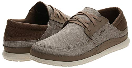 Crocs Men's Santa Cruz Playa Lace-Up Sneaker | Comfortable Casual Loafer, Khaki/Stucco, 13 M US