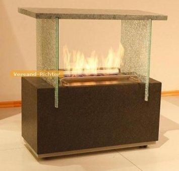 Wandkamin Feuerstelle Kamin fahrbar 72 x 75 cm aus Edelstahl + Granit + Speckstein
