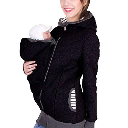 Zalock 3 in 1 Tragejacke Umstandsjacke für Mama und Baby Winter Freizeitjacke Babytrage Umstandsjacke Baumwolle K?nguru Softshell Umstandsmode Fleecejacke mit Kapuze