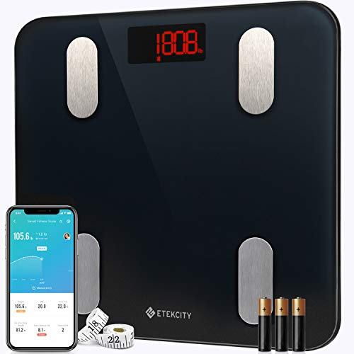 Etekcity, báscula de peso digital con Bluetooth, Apple Health y Google Fit, 400 libras, aprobado por la FDA