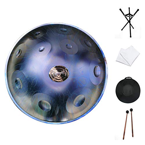 Handpan drum instrument, AS TEMAN handpan in D Minor 11 Notes 22 inches Steel Hand Drum with Soft Hand Pan Bag, 2 handpan mallet,Handpan...