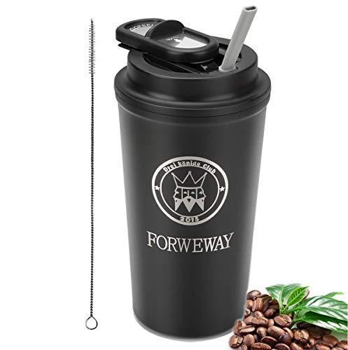 FORWEWAY Isolierte Kaffeebecher, Thermobecher Coffee to go Edelstahl Travel Mug mit Deckel Stroh BPA Frei Autobecher 100% Auslaufsicher 500ml/18oz für Kaffee Tee Wasser Reisen Büro (schwarz)