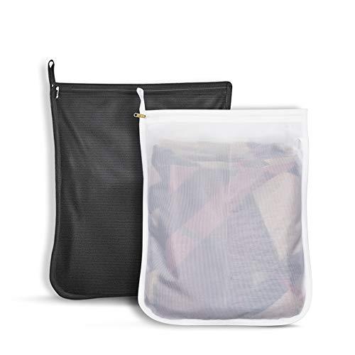洗濯ネット ランドリーネット ランドリーバッグ 絡み防ぎ 型崩れ防止 傷み防止 細かい網目 角型 布団カバー・コート・セーターなど適用 丈夫 家庭用 収納用 黒&白 2pack(XL)