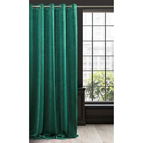 Eurofirany - Cortina de Terciopelo Verde Oscuro, 1 Unidad, Suave, 10 Ojales, Elegante,, Dormitorio, salón, Tela, Verde Oscuro, 140 x 250 cm