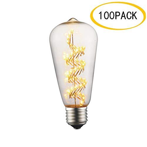 EnweLampi E27 Edison LED rétro Ampoule 3W, Ampoule Spirale pour la Maison ou Commerciale Décoration, Paquet de 100