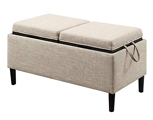 Convenience Concepts Designs4Comfort Magnolia Storage Ottoman with Trays, Tan Fabric