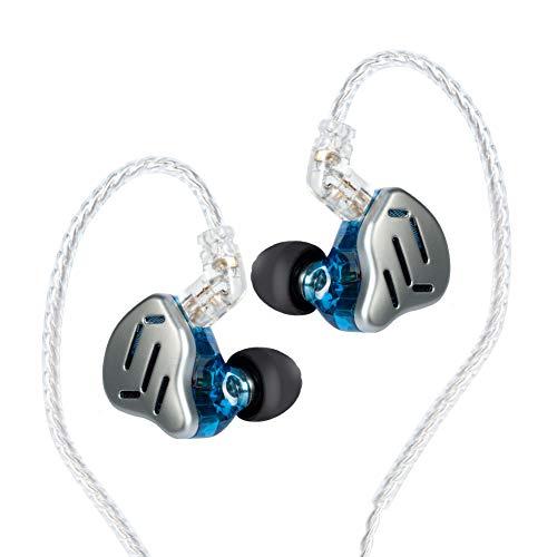 KZ ZAX 1DD 7BA HIFI - Auriculares de diadema para músico, auriculares híbridos de metal con cable de auriculares desmontable (sin micrófono, azul)
