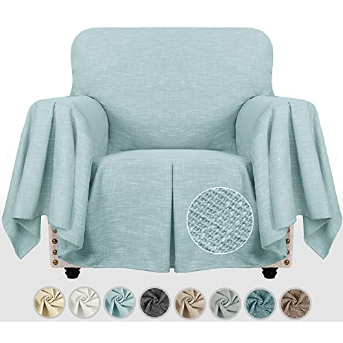 MAXIJIN Linen-Like - Funda para sillón de salón decorativa con volantes, funda de sofá gruesa, compatible con mascotas, con perros, con brazos (1 plaza, azul claro), color azul