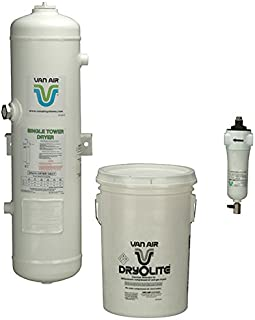 "Van Air Systems 80-1500 D8 Compressed Air Dryer, Includes 1 µm F200 Series After-Filter and 1 50 lb Dry-O-Lite Desiccant, No Power Requirement/Moving Parts, Outdoor or Indoor Installation, 50 CFM, 3/4"" NPT, White (Pack of 3)"