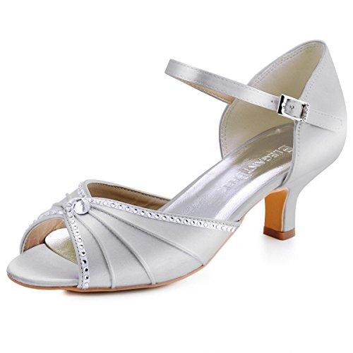 Elegantpark HP1623 Sandalias de Boda Tacon Bajo Peep Toes Zapatos Boda Fiesta...