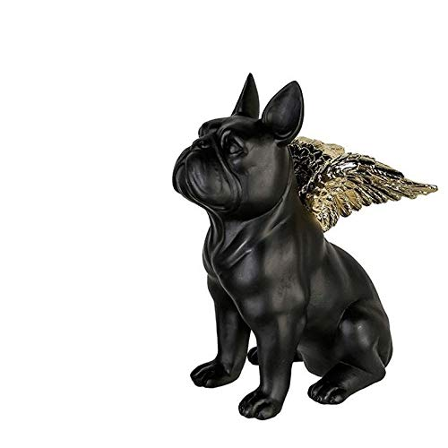 Laure TERRIER French Bulldog Dog Statue with Wings, Black Resin. Height 6.3 inches, for Decoration