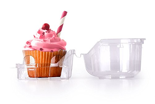 Cupcake and Muffin Containers, Individual Cupcake Boxes, Strong and Sturdy, BPA Free, crystal Clear Plastic,with Superior Hinged Lid, Clear cupcake boxes(40,4''W x 3''H)