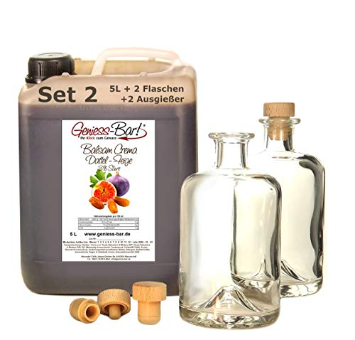 Balsamico Creme Dattel & Feige 5L + 2 Flaschen & Ausgießer 3%Säure Mit original Crema di Aceto Balsamico di Modena IGP