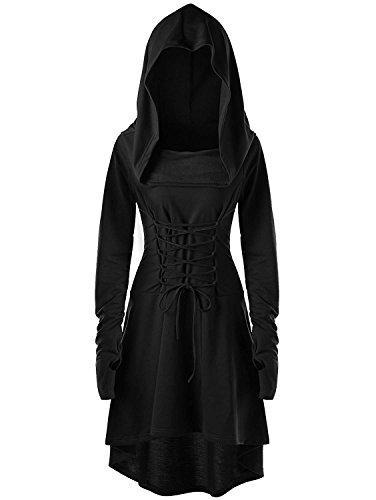 Gemijack Womens Renaissance Costumes Hooded Robe Lace Up Vintage Pullover High Low Long Hoodie Dress Cloak Black