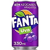 Fanta Uva Sin Azúcares - Refresco de uva sin azúcares añadidos- lata 330 ml