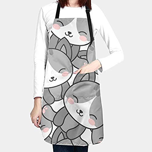 Cute Cat Kitchen Aprons for Women Men Plus Size with 2 Pockets Waterproof Avoid Grease Oil Stains Adjustable Neck Strap for Cooking Gardening Painting Cosmetology Kitchen Personalized Gifts