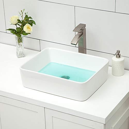 Rectangle Vessel Sink - Logmey 19'x15' Bathroom Sink Rectangle Vessel Sink Modern White Porcelain Ceramic Rectangle Above Counter Lavatory Vanity Sink Bowl Art Basin