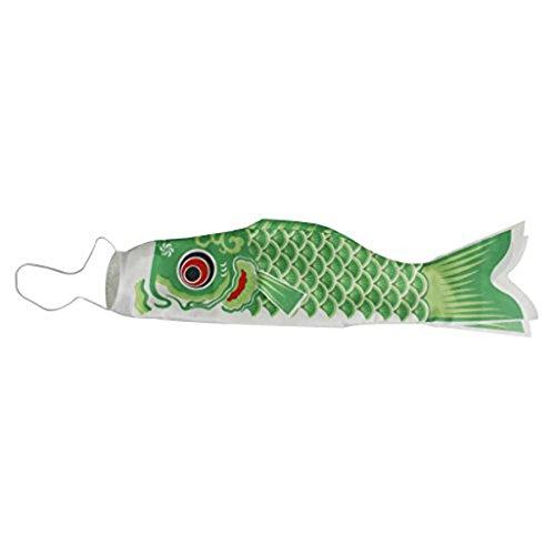 PIXNOR carpa japonesa mango de aire 70cm bandera Koinobori Sailfish peces viento Streamer Verde